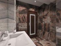 badrum för illustration 3d i grå färg- och bruntsten med det vita badet Arkivbilder