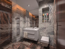Badrum i grå färg- och bruntsten med det vita badrummet Royaltyfria Bilder