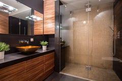 Badrum med den utsmyckade duschen Royaltyfria Bilder
