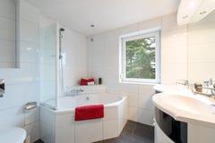 Badrum med det trevliga badet Fotografering för Bildbyråer