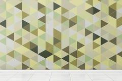 Badrum med det vita golvet och Olive Green Polygon Geometric Tile Royaltyfri Bild