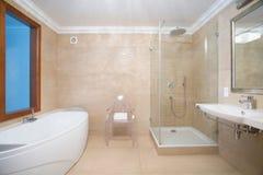 Badrum med duschen och badkaret Arkivbild