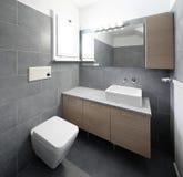 Badrum med gråa tegelplattor i en studio arkivbild