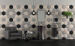 Badrum med vasken och sexhörniga tegelplattor Royaltyfri Bild