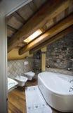 Badrum som möbleras med ett gruppbadkar Arkivfoton