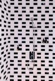 Badrumdusch med modern stads- inredesign, svart och whi arkivfoto