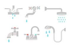 Badrumduschsymboler med process bevattnar samlingen för hygien för besparingsymbolbegreppet och ren hushålltvagningsilver stock illustrationer