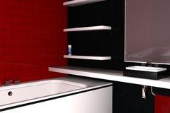 Badrumfasta tillbehör och spegel i den röda och svarta färgen Fotografering för Bildbyråer