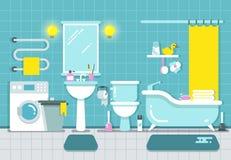 Badrumhemmiljö med den dusch-, bad- och handfatvektorillustrationen royaltyfri illustrationer