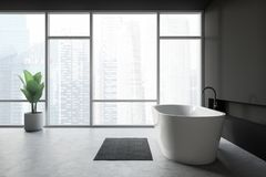 Badruminre för modern design med bathtube och det panorama- fönstret royaltyfri illustrationer