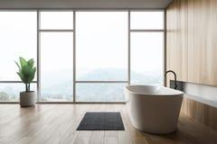 Badruminre för modern design med bathtube och det panorama- fönstret vektor illustrationer