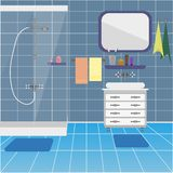 Badruminre med duschen och handfatet Bakgrund stock illustrationer