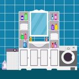 Badruminre med vasken, spegel, kabinetter, hyllor med hushållkemikalieer, med en tvagningmaskin och en tvättkorg stock illustrationer