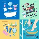 Badrummöblemang och tillbehör för tvätt och makeup Arkivbild