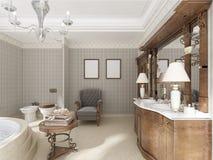 Badrummet i lyxig neo-klassisk stil med vaskar badar och en lar Royaltyfri Fotografi