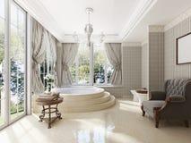 Badrummet i lyxig neo-klassisk stil med vaskar badar och en lar Royaltyfria Foton