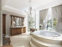 Badrummet i lyxig neo-klassisk stil med vaskar badar och en lar Fotografering för Bildbyråer