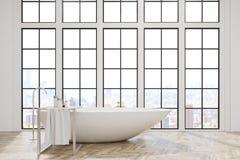 Badrummet med vit badar och stora fönster vektor illustrationer