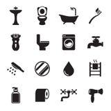 Badrumsymbolsuppsättning stock illustrationer