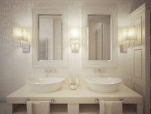 Badrumvasken tröstar modern stil Arkivbild