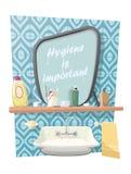 Badrumvattenkran, vask, spegel och annan hygienisk saker stock illustrationer
