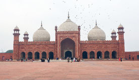 Badshahi清真寺在巴基斯坦 库存照片