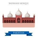 Badshahi Lahore Pakistan przyciągania Meczetowa wektorowa płaska podróż ilustracja wektor