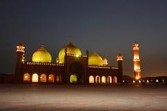 Badshahi Mosque. One of the biggest mosques of the world Badshahi Masjid illuminated at night Stock Photography
