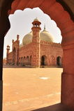 The Badshahi Mosque details, Lahore, Pakistan. The Badshahi Mosque or the Royal Mosque in Lahore. Commissioned by the sixth Mughal Emperor Aurangzeb in 1671 and Royalty Free Stock Photography