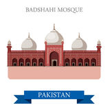 Badshahi Mosque Lahore Pakistan vector flat attraction travel Stock Photos