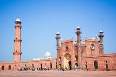 Badshahi mosque entrence gate lahore. The Badshahi Mosque is a Mughal era mosque in Lahore, capital of the Pakistani province of Punjab. The mosque is located Stock Image