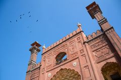 Badshahi mosque entrence gate lahore. The Badshahi Mosque is a Mughal era mosque in Lahore, capital of the Pakistani province of Punjab. The mosque is located Royalty Free Stock Photography