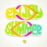Badsko med sommarhälsning vektor illustrationer