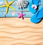 Badsko, sjöstjärna, snäckskal och korall på trä och sand som strandbakgrund arkivbilder