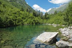 Baduk halny jezioro Teberda i Dombai Obrazy Royalty Free