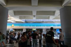 BADUNG/BALI-MARCH 28 2019:The atmosphere of hubbub in the pick up area of the international airport in Ngurah Rai. Seen a stock photography