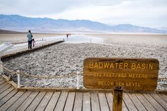 Badwarer Basin in Death Valley USA Lowest point 85.5 meters below sea level royalty free stock photo