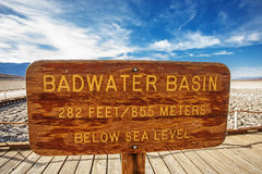 Badwater basi sign Stock Images