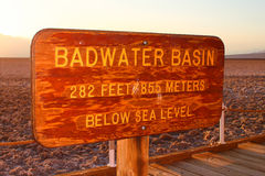 Badwater Basin Elevation Sign Stock Photos