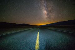 Badwater Basin Road at Night Stock Images