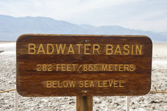 Badwater Basin sign Royalty Free Stock Image
