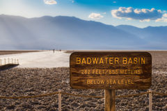 Badwater Basin Sign in Death Valley Royalty Free Stock Photo