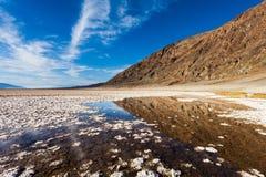 Badwater damm med reflexioner Arkivfoton
