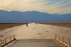 Badwater in Death Valley. National Park in late afternoon Stock Photos