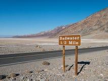 Badwater in Doodsvallei Stock Foto