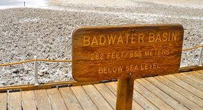 Badwater handfat, Death Valley nationalpark, Kalifornien Royaltyfri Bild