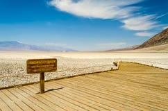 Badwater handfat, den lägsta höjdpunkten i USA, Death Valley Arkivbild