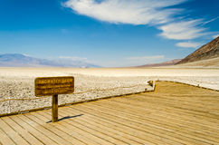 Badwaterbassin, het laagste verhogingspunt in de V.S., Doodsvallei Stock Fotografie