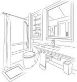 Badzaal Schets en Overzichts Vectorillustratie Royalty-vrije Stock Afbeelding
