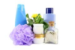 Badzusammensetzung mit Seesalz, -schwamm und -shampoo Lizenzfreies Stockbild